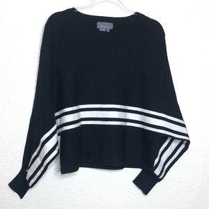 Anthropologie Black White Bat Wing Sleeve Sweater